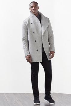 Peacoats, Mens Winter, Black Men, Boy Outfits, Winter Fashion, Grey, Colors, Boys, Jackets