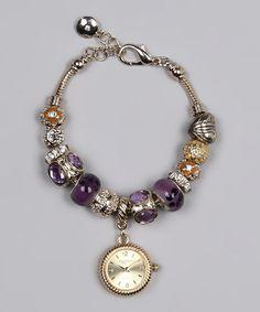 Gold & Purple Beaded Watch Bracelet