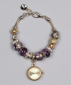 Gold & Purple Beaded Watch Bracelet
