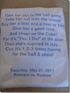 THIS IS WHAT I WANT TO DO FOR MY BACHELORETTE PARTY...and even better, this was for a brewers game <3