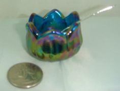 Lotus Glass Open Salt Dip Cellar Bermuda Blue Carnival Tulip W/Salt Spoon in Collectibles | eBay