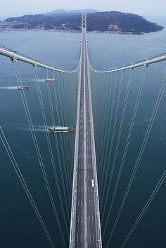 Pearl Bridge (Akashi Bridge), Kobe, Japan. This is the longest suspension bridge in the world.
