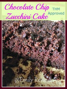 Chocolate Chip Zucchini Cake, Trim Healthy Mama Approved! THM recipe, homemade, PLUS, enter to win some Lily's Sweets goodies!