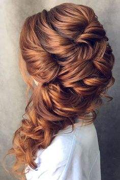 half up half down wedding hairstyles ideas brunette oksana sergeeva