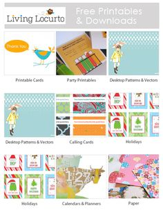 Tons of Free Printables & Downloads from designer Amy Locurto: LivingLocurto.com