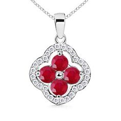 Round Ruby and Diamond Border Clover Pendant #Angara #ruby #necklace $749.99