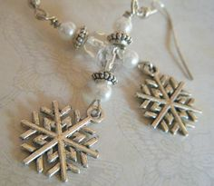 New in our shop today! Shimmery Beaded Snowflake Earrings, $18.00 #teamwwes #christmas #jewelry #handmade