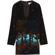 Topshop Unique Valiant printed velvet mini dress ($450) ❤ liked on Polyvore featuring dresses, black, multi colored dress, short velvet dress, mini dress, velvet mini dress and short dresses
