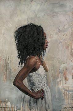 Women In Art History — Vigilance, Tim Okamura Black Girl Art, Black Women Art, Art Girl, Art Women, African American Art, African Art, Tim Okamura, Arte Black, Natural Hair Art