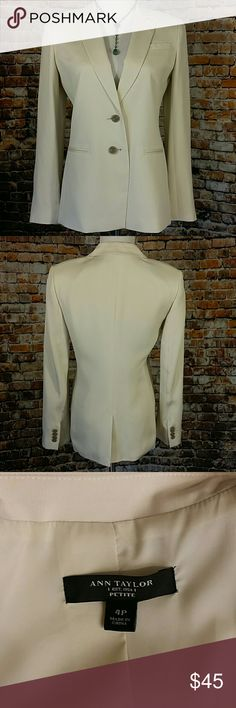 """Ann Taylor Ivory Blazer Sleek professional cream, 2 button  jacket. Fully lined. 2 faux front pockets & 1 faux chest pocket. Light shoulder pads. Size 4 Petite. 18"""" across chest lying flat, 26"""" long Ann Taylor Jackets & Coats Blazers"""