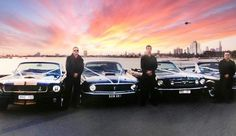 Our Ford Mustang fleet at St Kilda Beach.