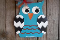 Wood Owl Door Hanger Home Decor Chevron Decoration