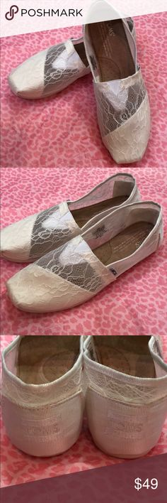 NWOB TOMS white lace classic slip ons sz 7 New without box TOMS classic slip ons in size 7. Beautiful lace throughout. Posh Ambassador with 850+ listings sold and perfect 5 star rating. Toms Shoes