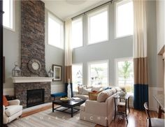 Love the fireplace rock and wall color