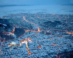 View of the snow-covered Poiana Brasov, Romania - I've seen this view but only in summer Macedonia, Albania, Montenegro, Aerial Photography, Travel Photography, Landscape Photography, Places To Travel, Places To Go, Brasov Romania