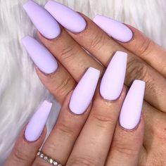 Set Of Painted Matte Lavender Long Coffin Nails Light Purple Nails, Purple Acrylic Nails, Purple Nail Art, Summer Acrylic Nails, Pastel Nails, Coffin Nails Long, Long Nails, Gel Nails At Home, Winter Nails