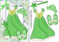 Pretty Green sparkle princess dress with tiara on Craftsuprint - Add To Basket!