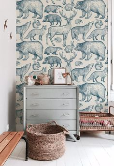 Kids room forest animals removable wallpaper blue and beige