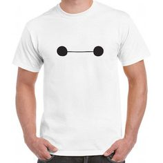 AnnStAcc Disney Movie Big Hero 6 Baymax Cute Eyes White Tee T-Shirt... ($10) ❤ liked on Polyvore featuring tops, t-shirts, men, white, women's clothing, white tee, white t shirts, white checkered shirt, t shirts y cotton shirts