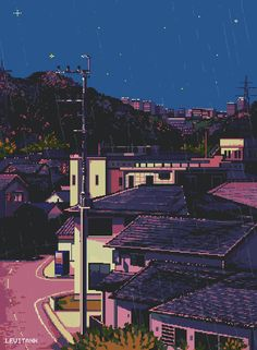 A quite street : PixelArt Aesthetic Gif, Aesthetic Wallpapers, Pixel Gif, Arte 8 Bits, Foto Gif, 8bit Art, Animation, Anime Scenery, Oeuvre D'art