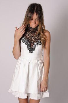 White Dress W/ Delicate Lace Neckline