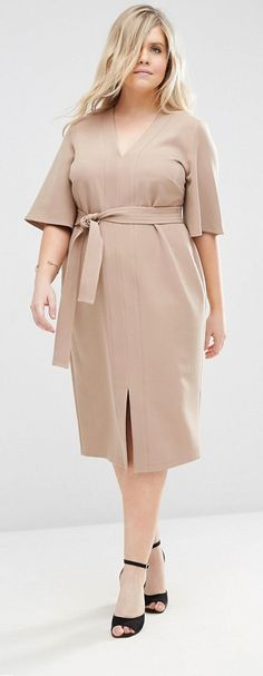 Browse online for the newest ASOS CURVE V Neck Tie Waist Dress styles. Shop easier with ASOS' multiple payments and return options (Ts&Cs apply). Curvy Outfits, Plus Size Outfits, Plus Size Fashion For Women, Lifestyle Blog, Fashion Online, Cold Shoulder Dress, Street Style, My Style, Coat