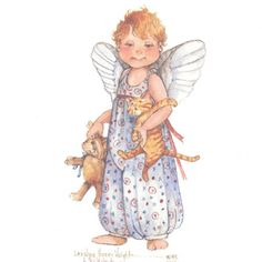 "This 7"" x 5"" lithograph is based on an original watercolor by Carolyn Shores Wright and is one of many cherubs she has painted over the years."