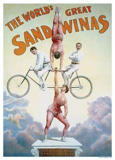 The Great Katie Sandwina Tandem Bicycle Circus Poster