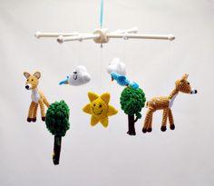 Mobiles – crochet woodland baby mobile/ deer tree bird cloud – a unique product by EvaSinai on DaWanda