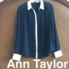 Ann Taylor 100% Silk Button up Perfect condition. No stains or rips. Buttons are concealed in front. very soft & beautiful Navy color with white. Silver top button as well as around wrists. 100% silk. Ann Taylor Tops Button Down Shirts