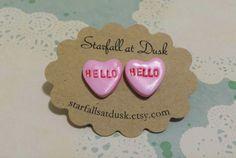 Conversation Hearts  Hello  Polymer Clay by StarfallsAtDusk, $13.95