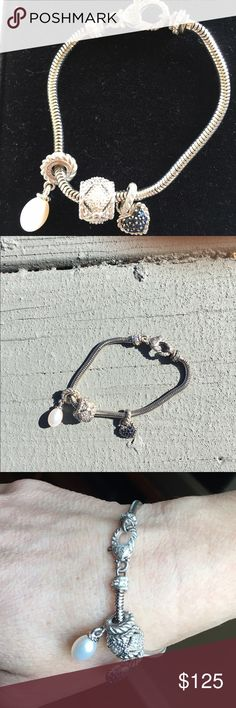 Judith Ripka Charm Bracelet Sterling Silver Gorgeous 7in silver bracelet with three charms. All Original Judith Ripka. Jewelry Bracelets