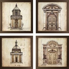 17.75 in. x 17.75 in. European Architectural Printed Framed Wall Art (Set of 4)