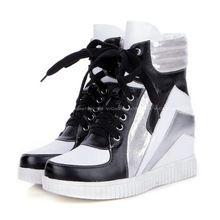 2015 Nieuwste Brand Vrouwen Leer PU Patchwork Sneakers for Toevallige Wedge Sneakers Damesschoenen Sneaker Sapatos Femininos (China (Vasteland))