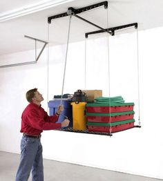 Racor Cable Lifted Pulley System Garage Storage Rack