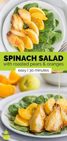 This spinach salad with roasted pears and oranges is bursting with flavor and takes under 30 minutes to make. The sweet pears and oranges are elevated with a tangy homemade red wine vinegar-based salad dressing to make this an easy and flavor-packed side salad. Or you can make this salad a full meal by cooking a chicken breast with the pears. You can also add a pork chop, tofu, or salmon to the salad. Croutons or crusty bread is definitely a great addition too! Simple Side Salad Recipe, Side Salad Recipes, Dinner Salads, Dinner Dishes, Easy Salads, Healthy Salads, Good Healthy Recipes, Vegetarian Recipes, Salad Croutons