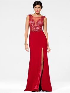 Red Illusion Gown - Exclusively Online