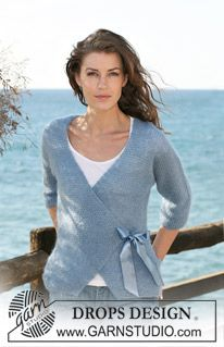 """Knitted DROPS wrap-round jacket with ¾ sleeves in garter st in 2 threads """"Kid-Silk"""". Size S-XXXL. ~ DROPS Design"""