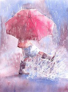 Romantic art, umbrella, storm clouds, print, painting