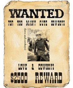 "Cowboy Craft: Make Your Own ""Wanted"" Poster...Have you or your kids always wanted a wanted poster? It's really easy to make your own, whether you are playing ""cowboys"" or just want to make something fun for the walls. This is a great activity for you and the kids."