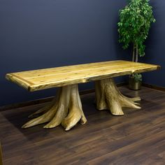double stump dining table