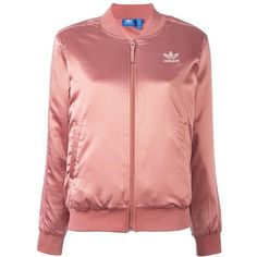 Adidas satin track jacket ($140) ❤ liked on Polyvore featuring activewear, activewear jackets, adidas activewear, tracksuit jacket, adidas, adidas sportswear and logo sportswear
