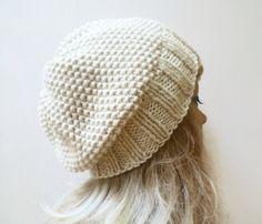 Women Merino Wool Knitted Hat, Cream Winter White Wool Slouchy Beanie Hat, Chunky Oversize Knit Beanie Hat, ClickClackKnits