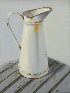 Rusty Jug   by Rika De Klerk Still Life Drawing, Still Life Oil Painting, Still Life Art, Cotton Painting, Art Village, Object Drawing, Cup Art, African Artists, Acrylic Painting Techniques