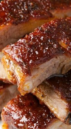 St Louis Ribs with Maple BBQ Sauce - slow roast at 225 degrees for 3 to 4 hours. Recipe for Maple BBQ Sauce and a Dry Rub - YUM! Sauce Recipes, Pork Recipes, Cooking Recipes, Smoker Recipes, Recipies, Barbecue Recipes, Grilling Recipes, Cooking Ideas, Food Network Recipes