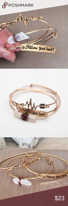 Follow Your Heart Antique Gold 3 Bracelet Set NWT Follow Your Heart Antique Gold 3 Bracelet Set NWT - 3 piece set that can be worn separately or together.  One bracelet has a clear crystal, one bracelet is inscribed 'Follow Your Heart' and one bracelet looks like a heartbeat. Jewelry Bracelets