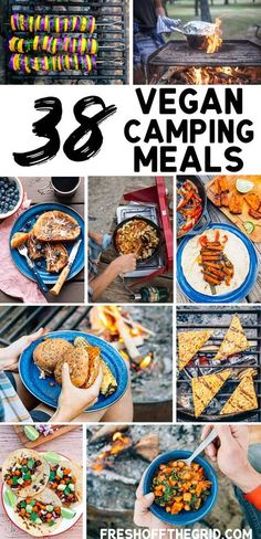 Camping food *everyone* can enjoy! Here are a ton of vegan camping meals for your next camping menu. Lots of breakfast, lunch, dinner and dessert ideas, plus some cocktails to sip around the campfire! #camping #campingfood #campingtips