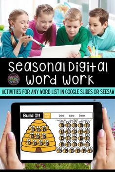Seasonal digital word work templates for use with any word list in school or at home! Includes moveable letter tiles and themed background slides in Seesaw and Google Slides. Use them again and again with any set of spelling words or high-frequency words. Just click to type in your own list! These fun activities are ideal for both distance learning and everyday classroom use. Word Work Games, Digital Word, Spelling Patterns, High Frequency Words, Spelling Words, Writing Words, Primary Classroom, Seesaw, Simple Words