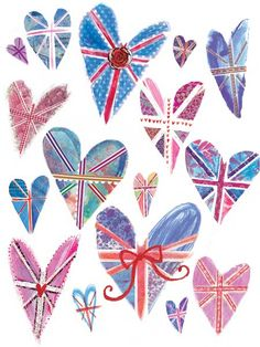 Union Jack Hearts by Laura Hughes World Thinking Day SWAPS
