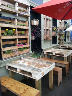 Railway Hotel, Albert St, Brunswick- spotted their newly built outdoor seating snd vertical pallet garden- so good!